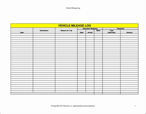 Mileage Receipt Template by 11 Vehicle Mileage Log Exle Sletemplatess