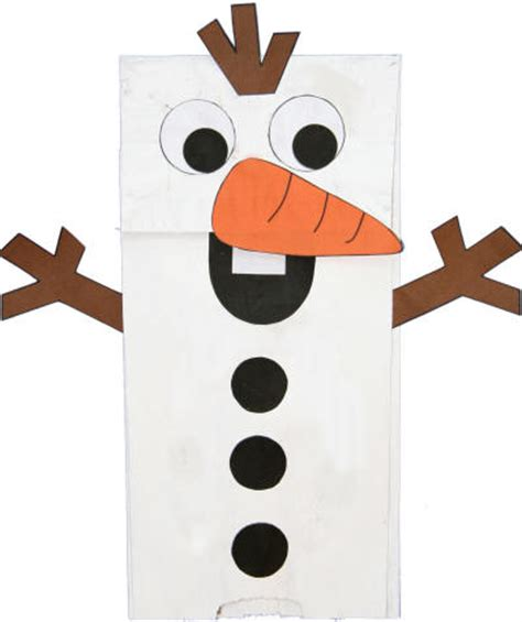 Paper Bag Snowman Craft - paper bag snowman puppet