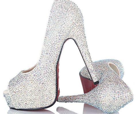 bling high heel shoes custom bling bling high heels peep toe wedding shoes