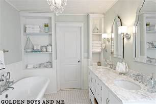 White Master Bathroom Ideas Golden Boys And Me Master Bathroom Pedestal Tub White Subway Tile