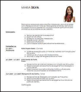 Modelo Curriculum Para Recepcionista Hotel Exemplo Curriculum Vitae Recepcionista Livecareer