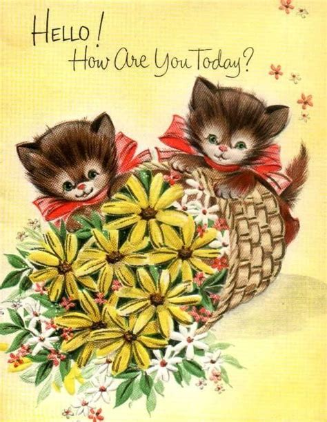 Post Card Cat Greeting Card Sno038 vintage greeting card cat cards