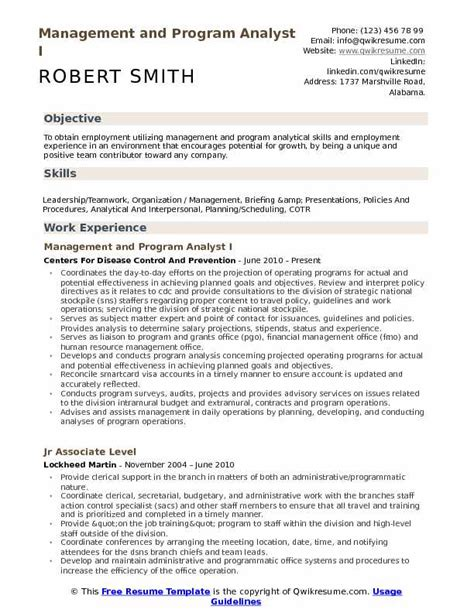 program analyst resume sles management and program analyst resume sles qwikresume