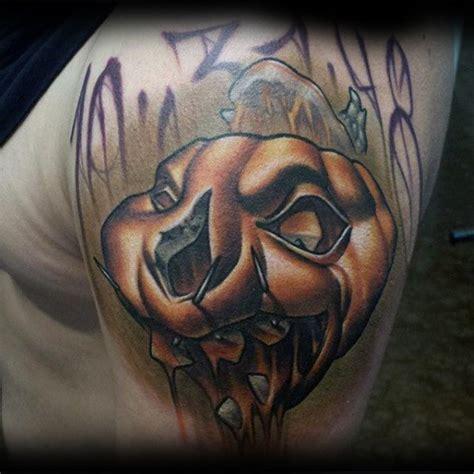 new school pumpkin tattoo 60 pumpkin tattoos for men jack o lantern design ideas