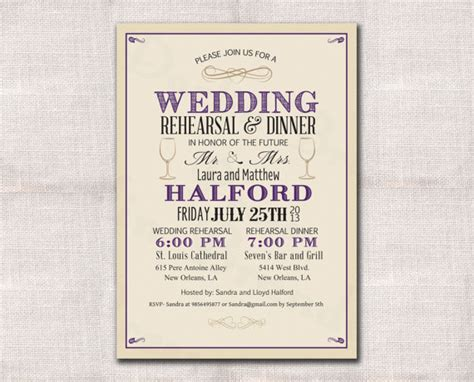 wedding rehearsal invitation template wedding rehearsal dinner invitation custom printable