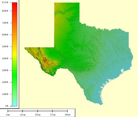 topographical map texas free topographic map of texas