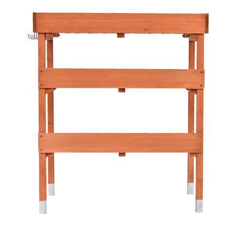 wooden potting bench with shelf outdoor garden wooden potting bench work station table