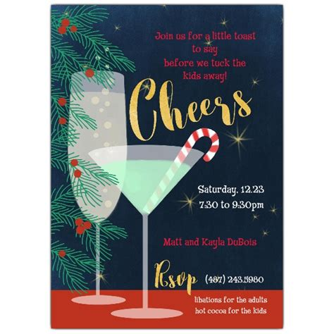cocktail party invitation holiday cheers cocktail party invitations paperstyle