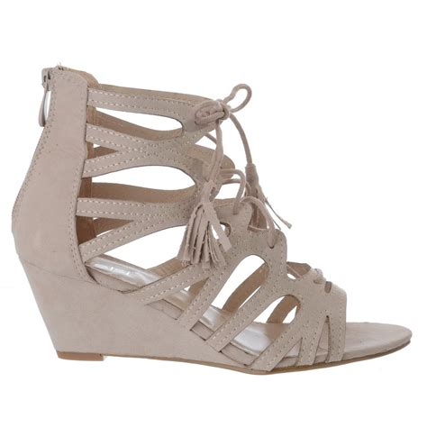 wedge heel gladiator sandals womens lace tie up low wedge heel cut out gladiator
