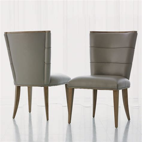 Leather Dining Chairs Adelaide Global Views Adelaide Grey Leather Dining Side Chair Gv720095
