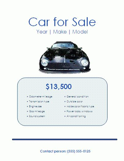5 Free Car For Sale Flyer Templates Excel Pdf Formats How To Sell Templates