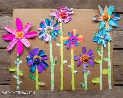 Paper Flowers For Children To Make - collage paper flower garden with make it your own