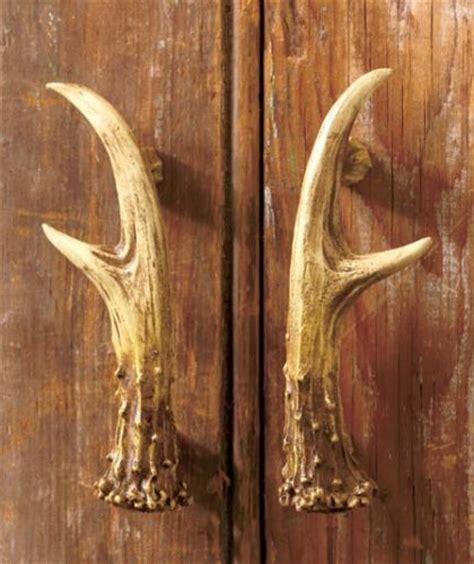 2 pc rustic deer antler cabinet door pulls cabin