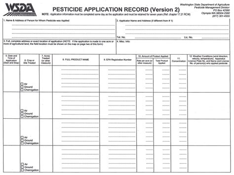 Wgl Store Pesticide Record Keeping Template