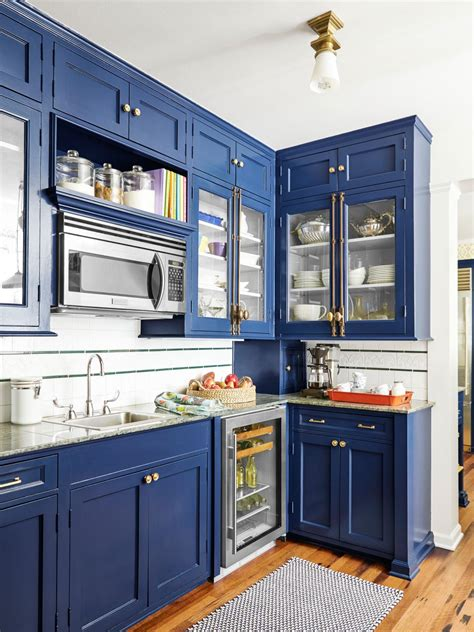 blue kitchen paint color ideas how to paint cabinets hgtv