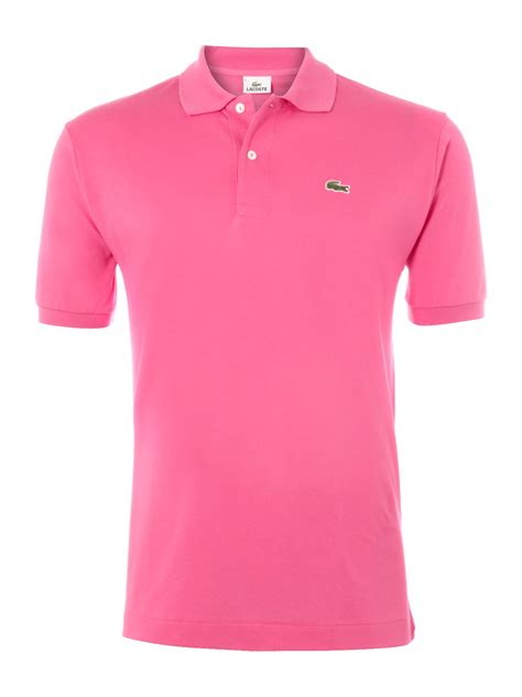 Kaos Polos Lacoste Colbus Uk M lacoste classic fitted polo shirt in pink for lyst