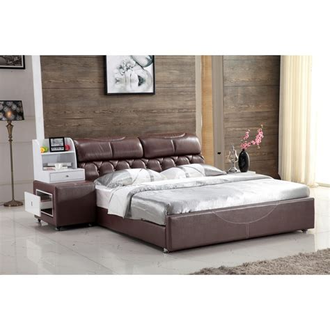 modern leather bedroom bed with storage cabinet 0414 810