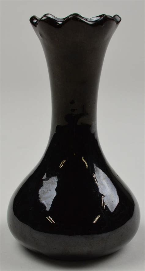Black Flower Vases flower vase pottery made black bulbous