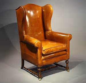 Antique victorian leather upholstered walnut wing chair loveday