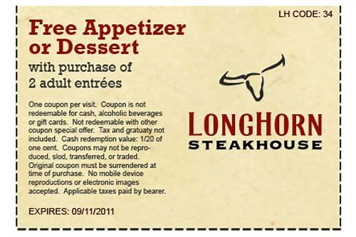 coupon for longhorn steakhouse appetizer