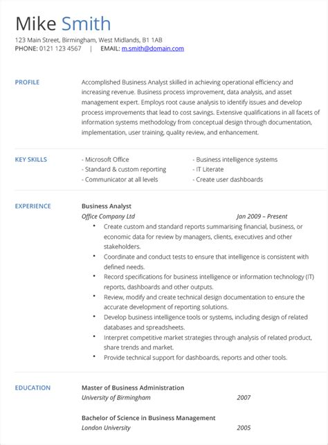 Free Online Resume Templates by Business Analyst Cv Example Hashtag Cv