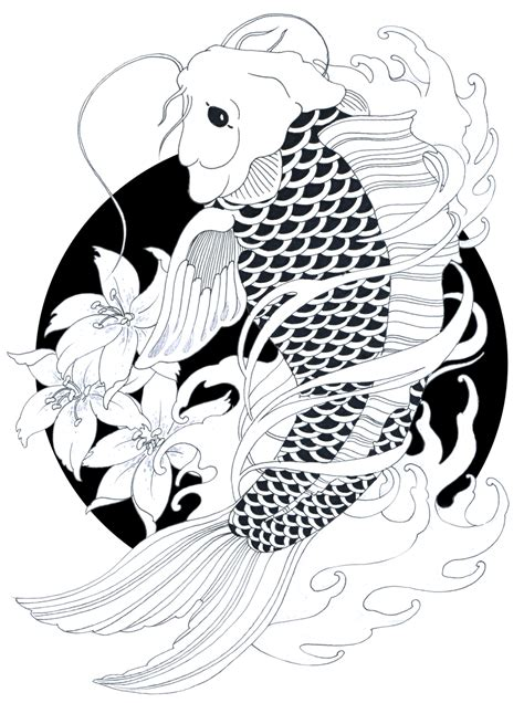 black and white koi fish drawings www imgkid com the