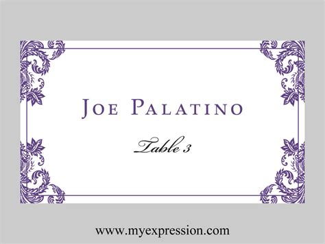 Avery Flat Place Card Template by Wedding Place Cards Flat Template Purple Damask