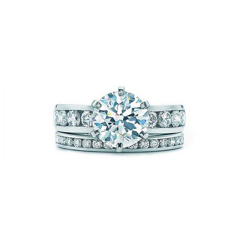 tifany set channel set engagement ring and wedding band