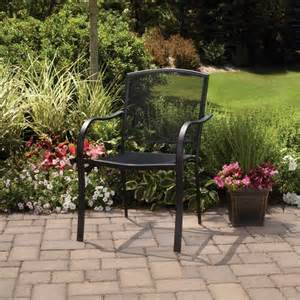 black wrought iron patio furniture mainstays wrought iron stackable chair black patio