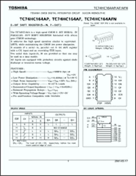 datasheet digital integrated circuits 74 series toshiba tc74hc164 series datasheets tc74hc164afn tc74hc164ap tc74hc164af datasheet