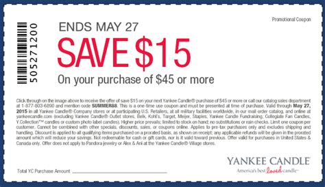 yankee candle coupons 15 off 45 printable yankee candle 15 off any 45 purchase coupon