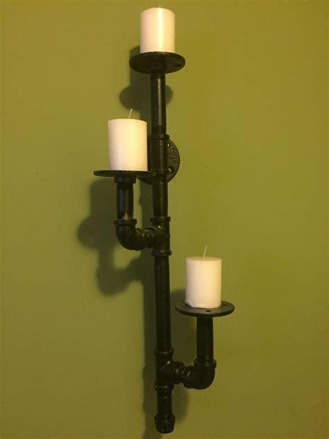 candelabro para pared candelabro a pared con tubo galvanizado 1 2 laqueado en