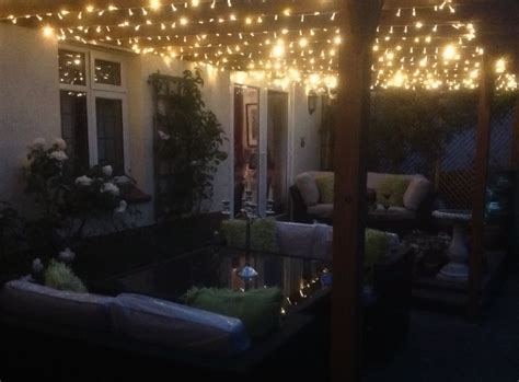 backyard fairy lights fairylights on trellis gazebo above side return gorgeous