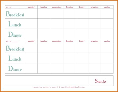 10 Printable Weekly Meal Planner Authorizationletters Org Weekly Meal Planner Template With Snacks