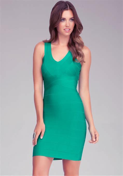 Dress Stretch Wedges Dress lyst bebe vneck bandage dress in green