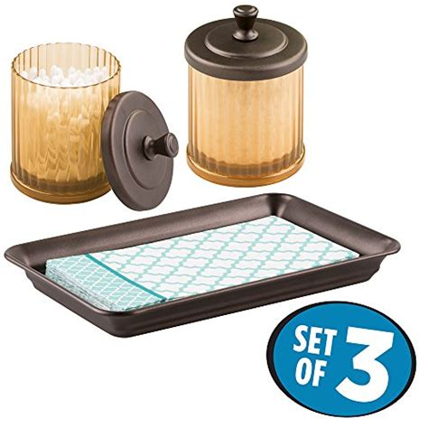 bathroom tray set mdesign bath accessory set small canister vanity tray