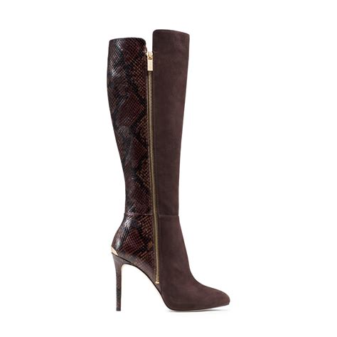 michael kors boots for michael kors clara suede and embossed leather boot in