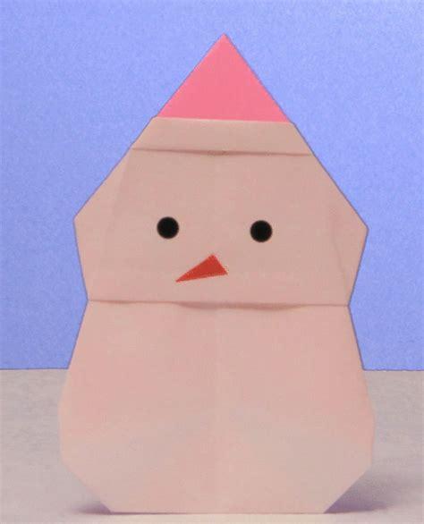 Origami Snowman - puppet box origami winter