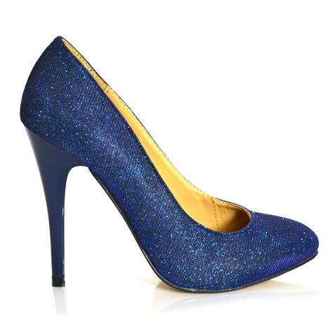 carlton amelia high heel glitter court shoe blue