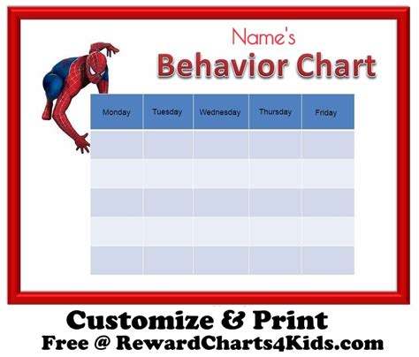 printable reward charts spiderman free behavior charts