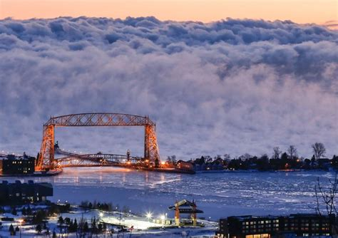 duluth sea smoke aerial lift bridge duluth minnesota sea smoke lake