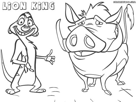 beautiful lion king timon and pumbaa with coloring pages