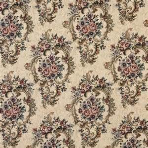 Tapestry Fabric Green Burgundy And Beige Floral Tapestry Upholstery Fabric
