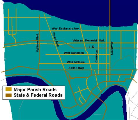 Jefferson Parish Property Records Jefferson Parish La Eastbank Major Map