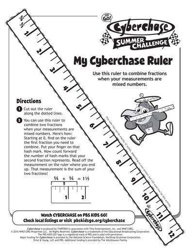 printable learning ruler math activities cyberchase pbs kids kids school