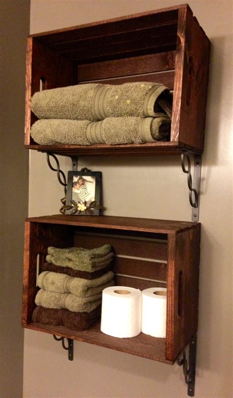 bathroom shelves made out of crates for the home