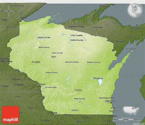physical map of wisconsin physical 3d map of wisconsin darken
