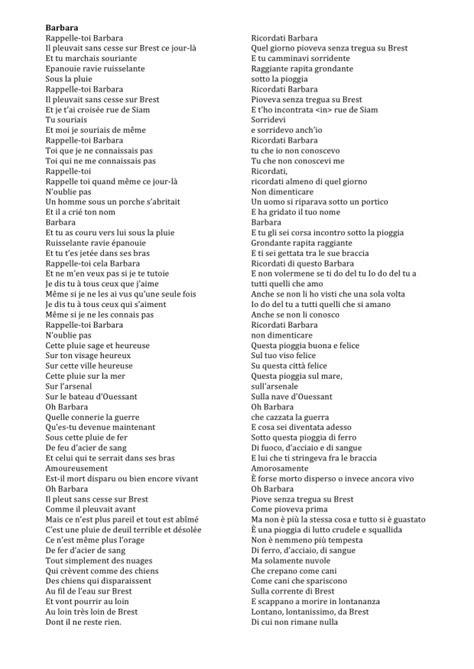 testo e traduzione la vie en barbara di jacques pr 233 vert tra poesia e canzone un