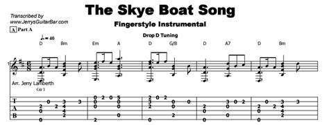 skye boat song chords lyrics the skye boat song guitar lesson tab jerry s guitar bar