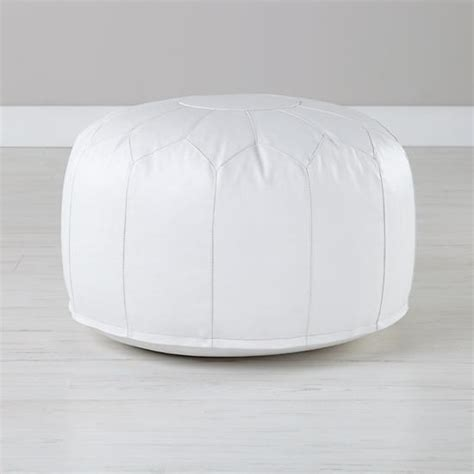 white floor pouf faux leather white pouf the land of nod